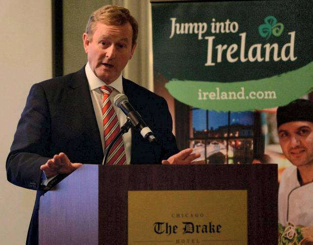 Enda Kenny addresses a Tourism Ireland event in Chicago yesterday