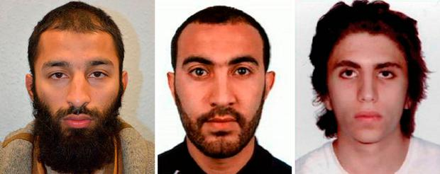 Undated handout photos issued by the Metropolitan Police of (left to right) Khuram Shazad Butt, Rachid Redouane and Youssef Zaghba who have been named as the London Bridge terrorists. Photo: Metropolitan Police/PA