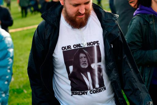 A Jeremy Corbyn supporter at a campaign event in Birmingham yesterday. Photo: AFP/Getty Images