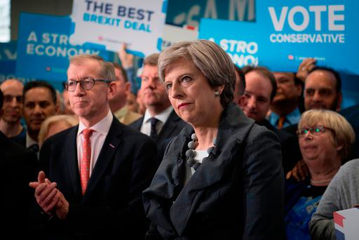 Prime Minister Theresa May and husband Philip May at a rally in Slough while on the General Election campaign trail. Photo: PA