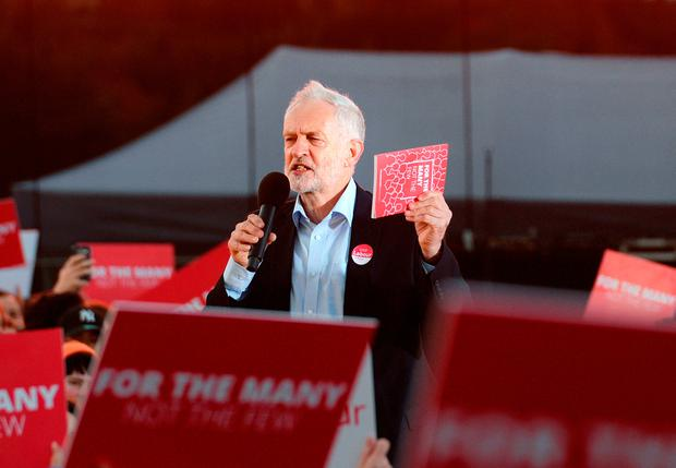 Labour leader Jeremy Corbyn speaking at a rally in Birmingham while on the General Election campaign trail. Photo: PA