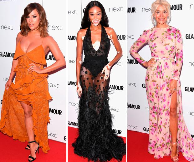 (L to R) Caroline Flack, Winnie Harlow and Holly Willoughby at the Glamour Women of the Year Awards