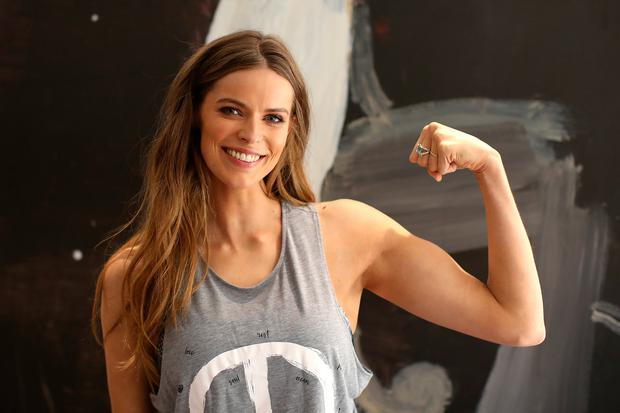 11e2193111caa Robyn Lawley poses ahead of hosting a spin class with her personal trainer  Penny Walsh at