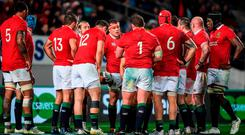 CJ Stander, centre, of the British & Irish Lions after his side conceded their second try during the match between Auckland Blues and the British & Irish Lions at Eden Park in Auckland, New Zealand. Photo by Stephen McCarthy/Sportsfile