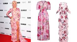 Holly Willoughby (Photo by Stuart C. Wilson/Getty Images); Yumi Pink floral print stripe high-low maxi dress, €50.00, Debenhams; Pink Floral Cold Shoulder Frill Maxi Dres, €47.25, Pretty Little Thing