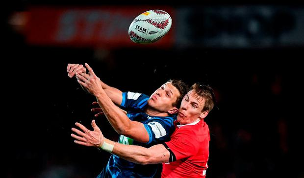 Liam Williams of the British & Irish Lions in action against Matt Duffie of the Blues during the match between Auckland Blues and the British & Irish Lions at Eden Park in Auckland, New Zealand. Photo by Stephen McCarthy/Sportsfile