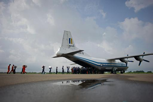 A Myanmar Air Force Shaanxi Y-8 transport aircraft, similar to the aircraft carrying over 100 people that went missing