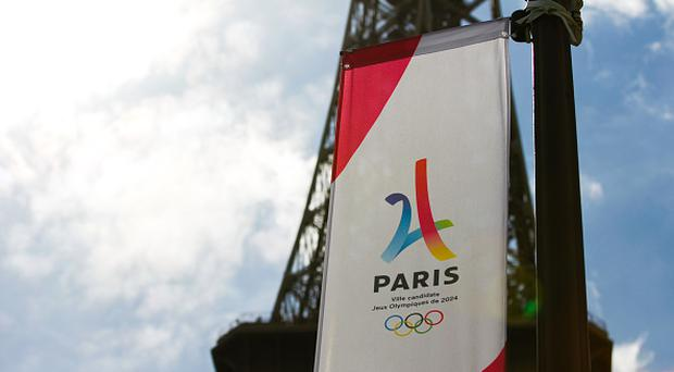 Illustration Logo Olympics Games Paris 2024 and the monument Eiffel Tower during Paris 2024, Olympics Games in street for the city's candidacy for Summer Olympics on June 4, 2017 in Paris, France. (Photo by Johnny Fidelin/Icon Sport)