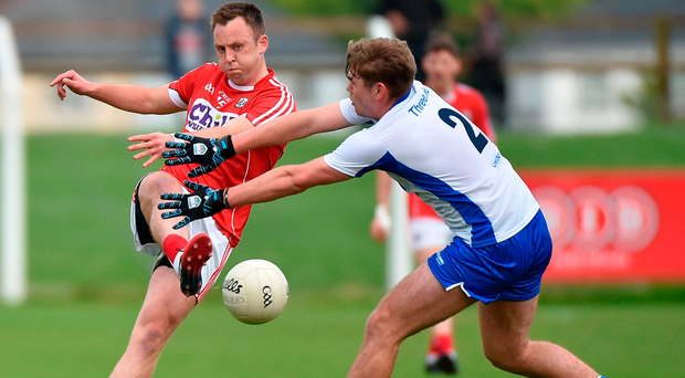 Paul Kerrigan of Cork in action against Brian Looby of Waterford during the Munster GAA Football Senior Championship Quarter-Final match between Waterford and Cork at Fraher Field in Dungarvan, Co Waterford. Photo: Sportsfile