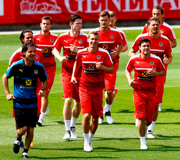 The Austrian squad are pictured in training yesterday in preparation for their clash with Ireland at the Aviva. Photo: Reuters