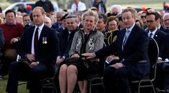 The Duke of Cambridge, Princess Astrid of Belgium and Taoiseach Enda Kenny at the commemoration of the Battle of Messines Ridge at the Island of Ireland Peace Park in Mesen, Belgium. Photo: Reuters/PA