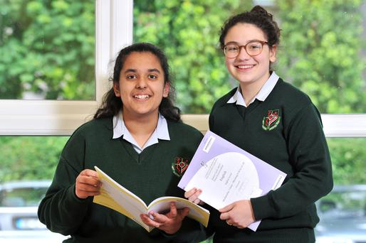 Junior Cert students Maham Aziz, left, and Tata Abuladze, of St Aloysius Secondary School, Cork City. Picture: Provision
