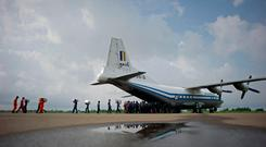 This file photo taken on August 5, 2015 shows a Myanmar Air Force Shaanxi Y-8 transport aircraft , similar to the aircraft that went missing between the southern city of Myeik and Yangon on June 7, 2017. AFP PHOTO / Ye Aung ThuYE AUNG THU/AFP/Getty Images