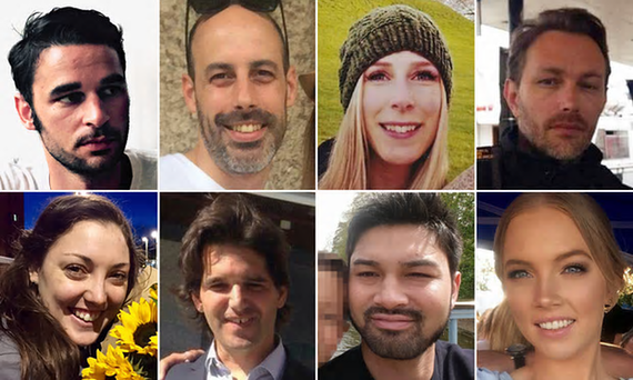 The victims of the London Bridge attack,from top left: Alexandre Pigeard, Sébastien Bélanger, Christine Archibald, Xavier Thomas, Sarah Zelenak, James McMullan, Ignacio Echeverría and Kirsty Boden