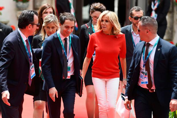 Brigitte Macron, wife of French President, leaves the Hotel San Domenico for an official visit in Catania on the sidelines of the Heads of State and of Government G7 summit, on May 26, 2017 in Taormina, Sicily