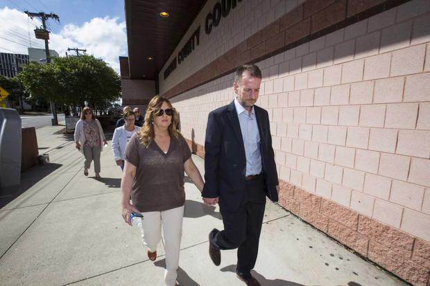 Tracey and David Lynch, sister and brother in law of Jason Corbett, arriving at Davidson County court house (Photo: Mark Condren)