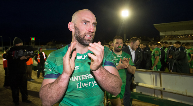 Connacht's John Muldoon applauds supporters after the Guinness PRO12 Round 21 match between Connacht and Scarlets at The Sportsground in Galway. Photo by Diarmuid Greene/Sportsfile