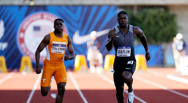 Justin Gatlin runs to victory ahead of Christian Coleman in the Men's 100 Meter Final during the 2016 U.S. Olympic Track & Field Team Trials at Hayward Field on July 3, 2016 in Eugene, Oregon. (Photo by Andy Lyons/Getty Images)