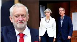 Labour leader Jeremy Corbyn and Conservative leader Theresa May cast their votes early on Thursday