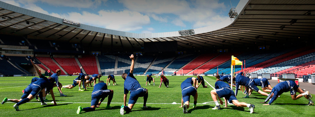 Scotland players during the training session at Hampden Park, Glasgow. Photo: PA