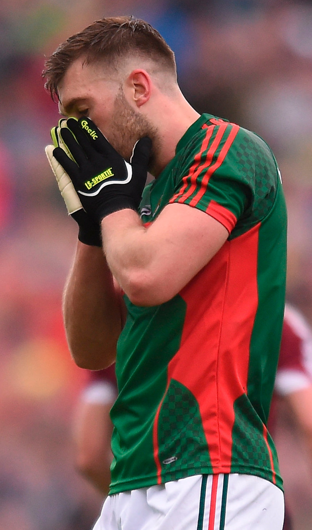 Mayo's Aidan O'Shea of Mayo reacts after a missed chance during last year's Connacht SFC semi-final against Galway. Photo: Sportsfile