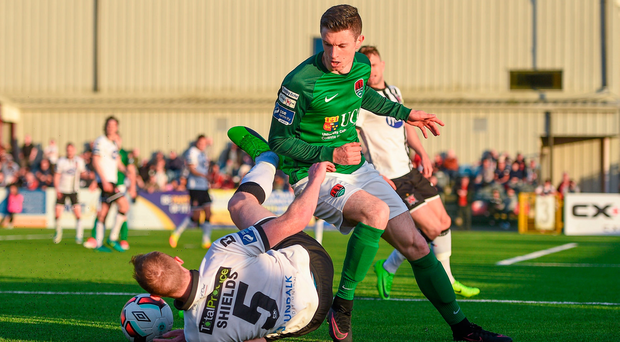 2 June 2017; John Dunleavy of Cork City in action against Chris Shields of Dundalk during the SSE Airtricity League Premier Division match between Dundalk and Cork City at Oriel Park in Dundalk, Co. Louth. Photo by Ramsey Cardy/Sportsfile