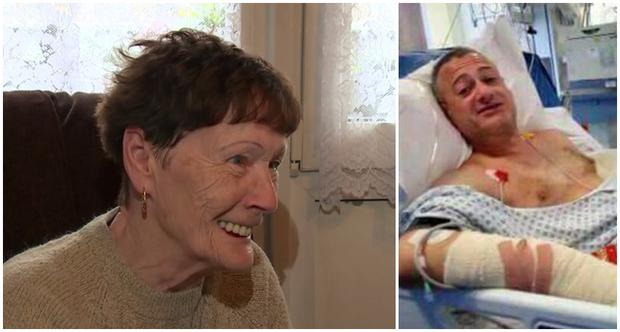 Phyllis Larner, whose son Roy was stabbed in the terror attack. Mr Larner in hospital in Lambeth after being stabbed multiple times by terrorists. Photo: ITV News.