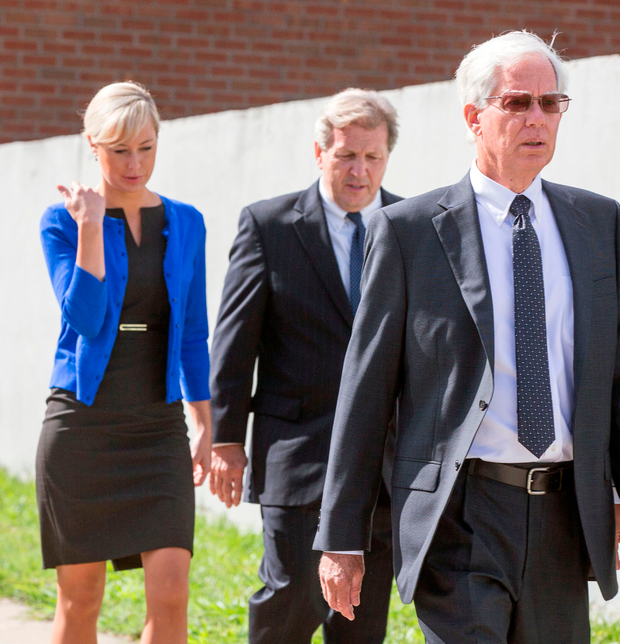 Molly Martens Corbett and her father Thomas (front) arrive at court. Photo: Mark Condren
