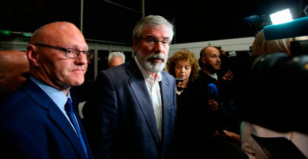 Sinn Fein Leader Gerry Adams arrives at the Titanic exhibition centre in Belfast where counting is taking place in the 2017 General Election. Niall Carson/PA Wire