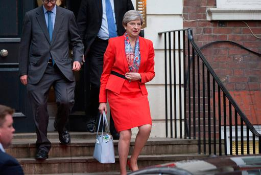 Prime Minister Theresa May leaves Conservative Party HQ in Westminster, London, as her future as Prime Minister and leader of the Conservatives was being openly questioned Photo: Rick Findler/PA Wire
