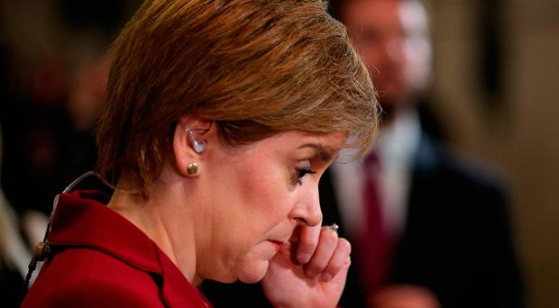 First Minister Nicola Sturgeon speaks to the media at the Emirates Arena in Glasgow, as counting is under way for the General Election. Andrew Milligan/PA Wire