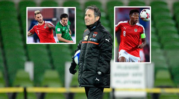 Stoke boss Marcel Koller; Arnautovic (left) and Alaba (right)