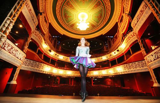 Katie Murphy prepares for Riverdance at the Gaiety Theatre