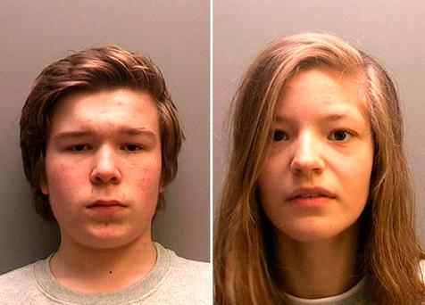 Lucas Markham and Kim Edwards, believed to be Britain's youngest double murderers, who can now be named as the two 15 year olds who were convicted of murdering Edwards' mother and sister in Spalding, Lincolnshire, last April. Linconshire Police /PA Wire