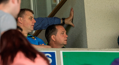 28 May 2017; Wexford manager Davy Fitzgerald, right, looks on during the Leinster GAA Hurling Senior Championship Quarter-Final match between Laois and Wexford at O'Moore Park, in Portlaoise, Co. Laois. Photo by Ray McManus/Sportsfile