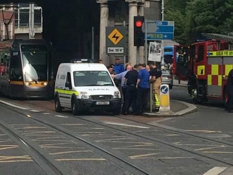 The incident at the Luas. Photo: Eamon Dillon