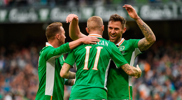 4 May 2017; James McClean of Republic of Ireland celebrates with Daryl Murphy, right and Aiden McGeady after scoring his sides third goal during the international friendly match between Republic of Ireland and Uruguay at the Aviva Stadium in Dublin. Photo by David Maher/Sportsfile
