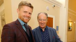 Damien Duff with Brian Kerr in Dublin yesterday at a celebration to mark the 20th anniversary of the Ireland U-20s third place finish at the 1997 U-20 World Cup in Malaysia. Pic : Lorraine O'Sullivan