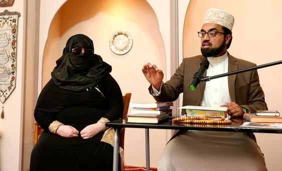 Deradicalised Irish woman 'Aaliya' and Shayk Umar, Imam of Al Mustafa Islamic Centre in Blanchardstown. Picture; Gerry Mooney