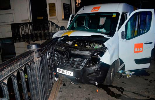 Undated handout photo issued by the Metropolitan Police of the van used in the London Bridge attacks.