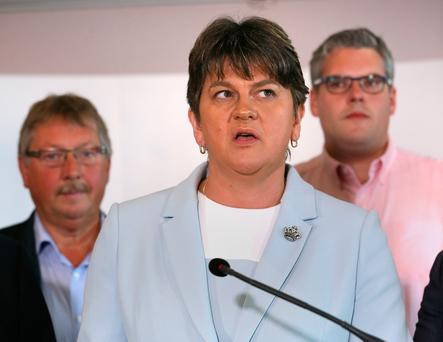 DUP leader Arlene Foster addresses journalists in Belfast yesterday. Photo: PA