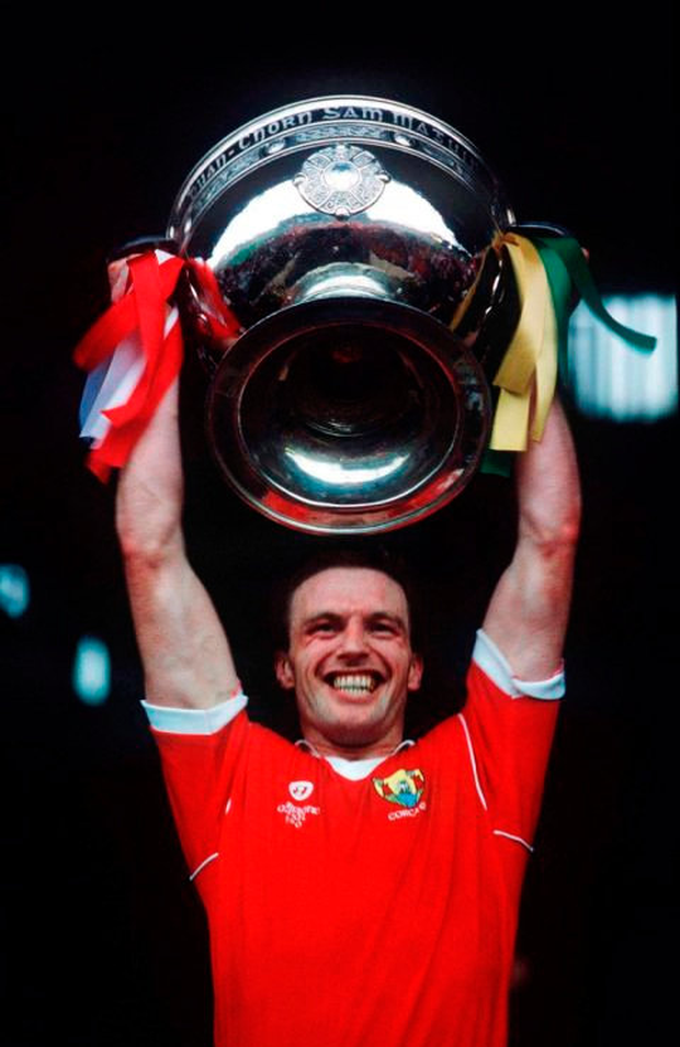 Larry Tompkins lifting the Sam Maguire for Cork in 1990. Photo: Sportsfile