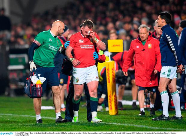 Stuart Hogg of the British & Irish Lions leaves the field after picking up an injury