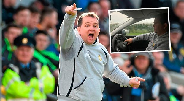 Davy Fitzgerald and (inset) in the driving seat on recent trip with the Irish Independent's Vincent Hogan