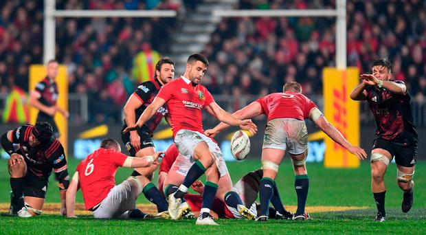 Conor Murray of the Lions kicks the ball during the match between the Crusaders and the British & Irish Lions at AMI Stadium