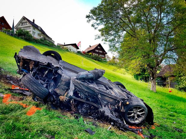 Handout photo issued by Freuds of the car which was involved in a crash where Richard Hammond escaped serious injury, in Switzerland. Photo: Freuds/PA Wire