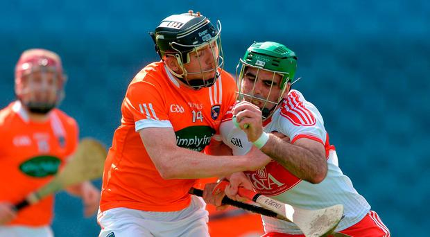 Seán Cassidy of Derry in action against Ryan Gaffney of Armagh during the Nicky Rackard Cup Final match between Armagh and Derry at Croke Park in Dublin. Photo by Piaras Ó Mídheach/Sportsfile