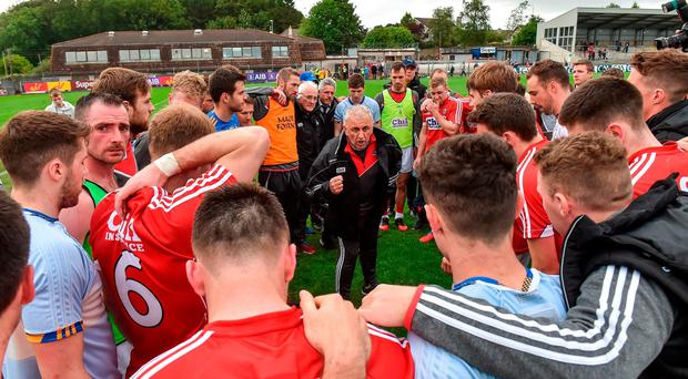 Cork manager Peadar Healy with his players after the Munster GAA Football Senior Championship Semi-Final match between Cork and Tipperary at Pairc Ui Rinn in Cork. Photo by Matt Browne/Sportsfile
