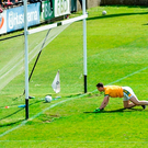 Paddy O'Rourke scrambles back to the goal line. Photo: Sportsfile