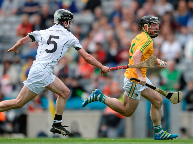 James Glancy of Leitrim in action against John Collins of Warwickshire during the Lory Meagher Cup Final match between Leitrim and Warwickshire at Croke Park in Dublin. Photo: Sportsfile